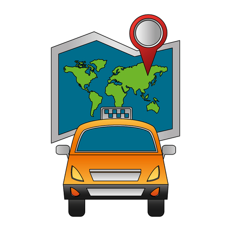 taxi transport travel world map and location vector illustration