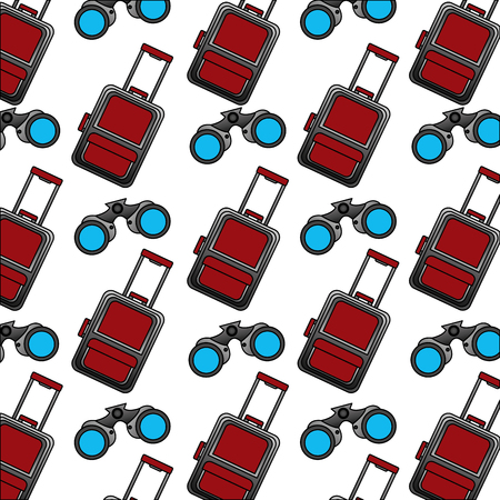 travel modern suitcase and binoculars background vector illustration Stockfoto - 103046482