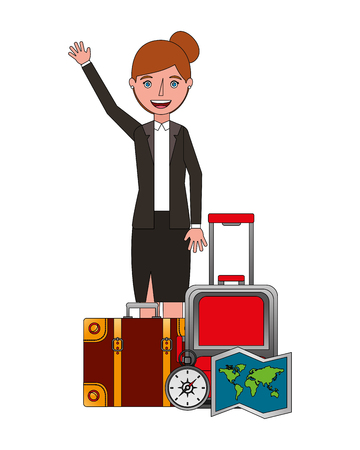 happy woman with travel suitcase map and compass vector illustration