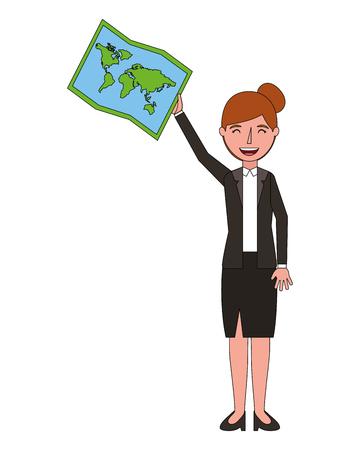 woman holding travel map planning vector illustration