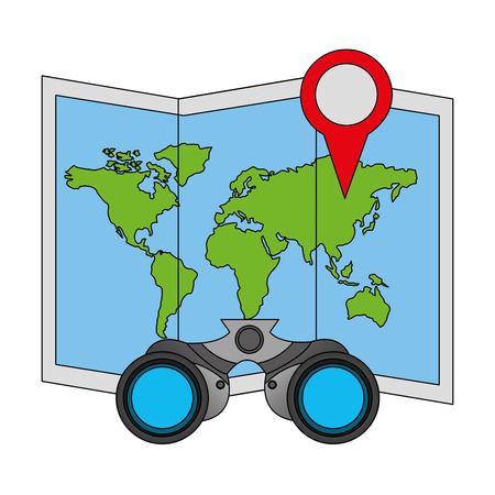 travel map world location binoculars vector illustration
