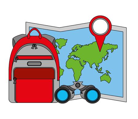 travel rucksack map location pin and binoculars vector illustration Ilustração
