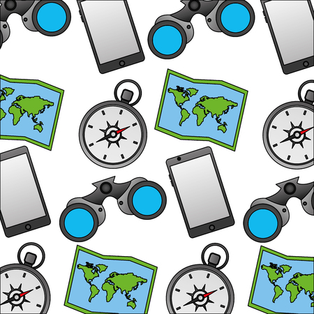 travel map compass binoculars phone background vector illustration