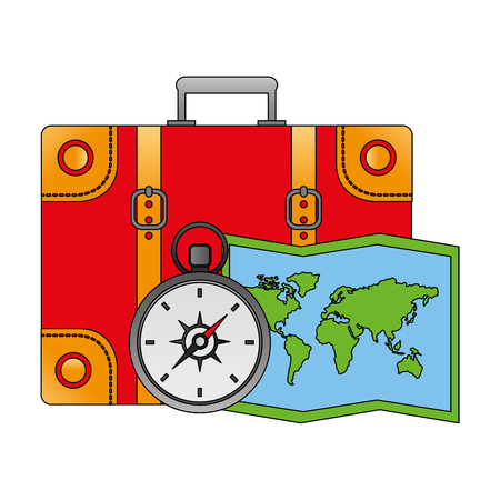 suitcase travel compass and map vector illustration Illustration