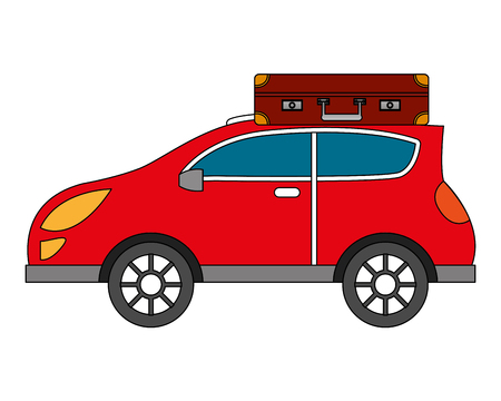 automobile with suitcase on roof travel vector illustration Ilustracja