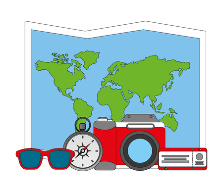 travel world map camera air ticket compass sunglasses vector illustration