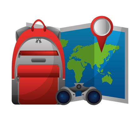Mapa de papel de mundo con los prismáticos y el diseño de ilustración vectorial bolsa Foto de archivo - 103046611