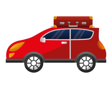 sedan car with suitcase vector illustration design