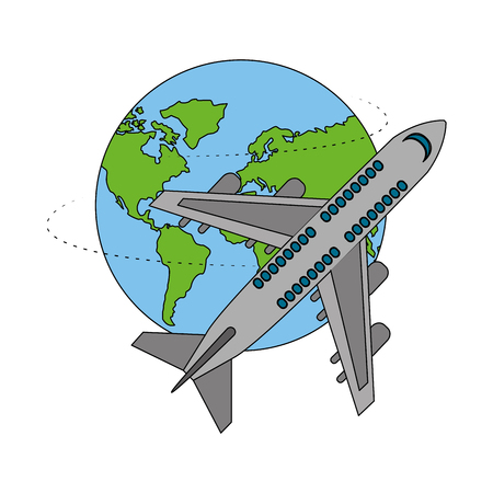 travel airplane vacations around of world vector illustration