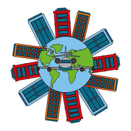 travel airplane around of world cities vector illustration Иллюстрация