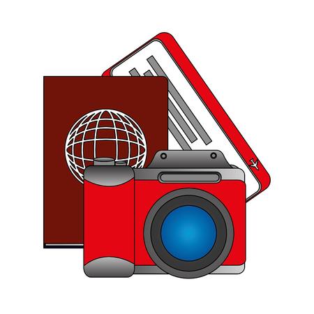 travel photo camera passport and ticket vector illustration