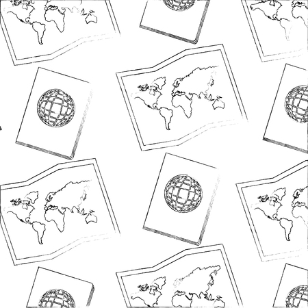 travel passport and map world background vector illustration