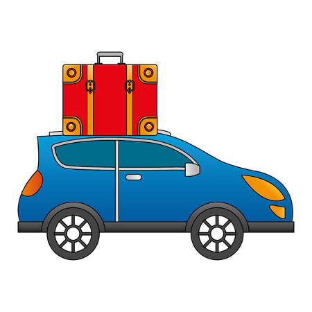 automobile with suitcase on roof travel vector illustration Illustration