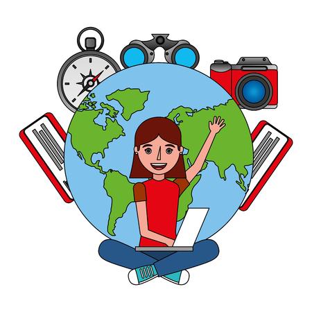 young woman using laptop travel world tickets vector illustration Illusztráció