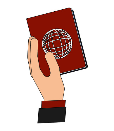 hand holding passport travel tourism vector illustration