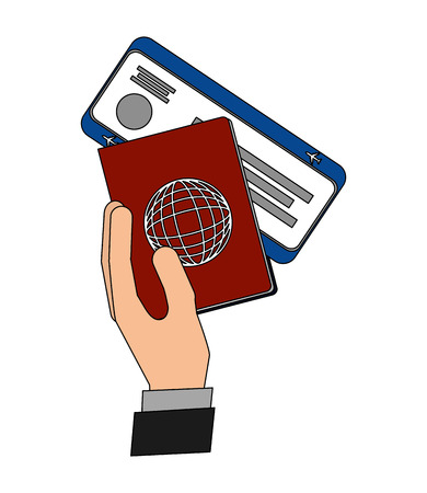 hand holding passport air ticket travel vector illustration