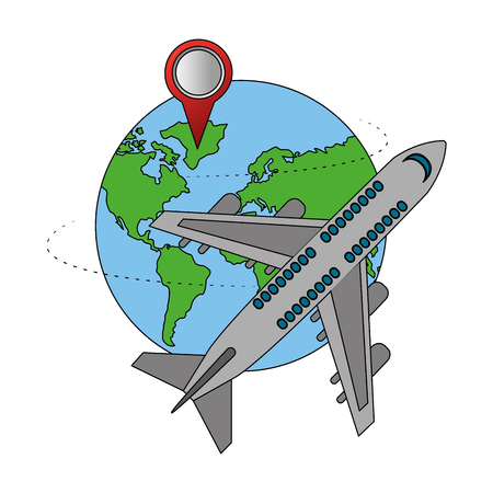 travel air plane world pointer map vector illustration