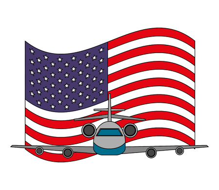 travel airplane and american flag tourism vector illustration Çizim