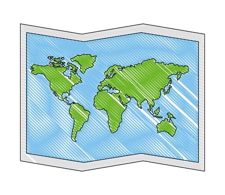 Mapa del mundo del papel del icono ilustración vectorial de diseño Foto de archivo - 103046708