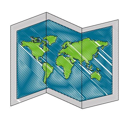 Mapa del mundo del papel del icono ilustración vectorial de diseño Foto de archivo - 103046709