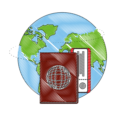 world planet earth with passport and ticket vector illustration design