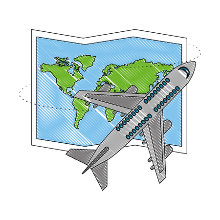 airplane flying with world paper map vector illustration design