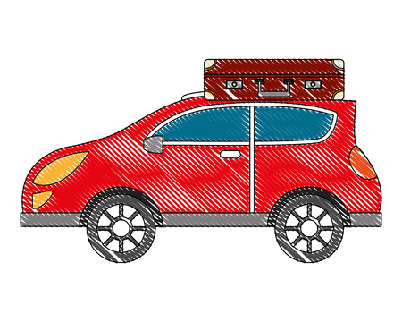 sedan car with suitcase vector illustration design