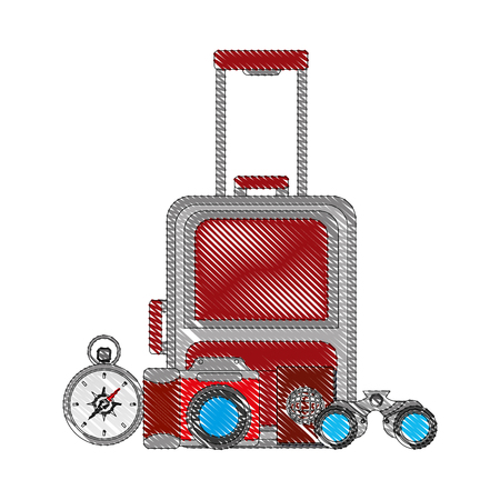 suitcase travel with set tourism icons vector illustration design