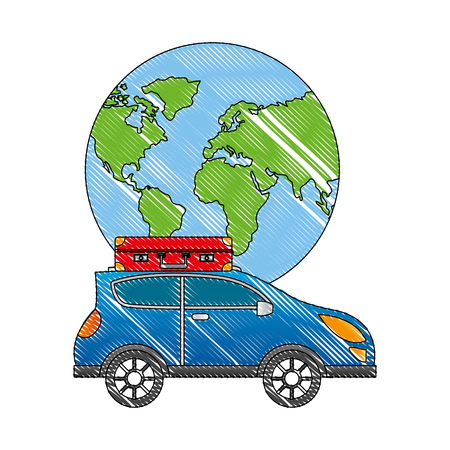 world planet earth with car vector illustration design