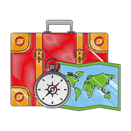 suitcase travel with compass and map vector illustration design