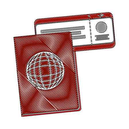 passport document with ticket flight vector illustration design Çizim