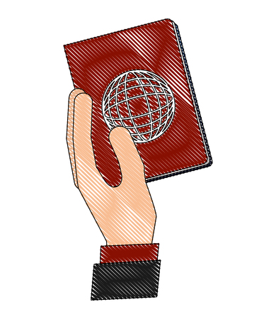 hand with passport document vector illustration design Illustration