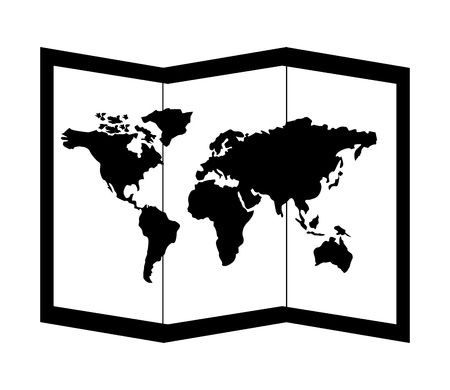 folded world map destination travel vector illustration