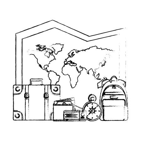 world paper map with set tourism icons vector illustration design Illustration