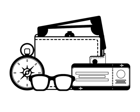travel wallet money compass ticket and sunglasses vector illustration 일러스트