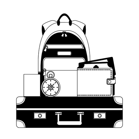 travel suitcase backpack wallet money compass passport vector illustration