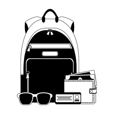 travel backpack wallet money air ticket and sunglasses vector illustration