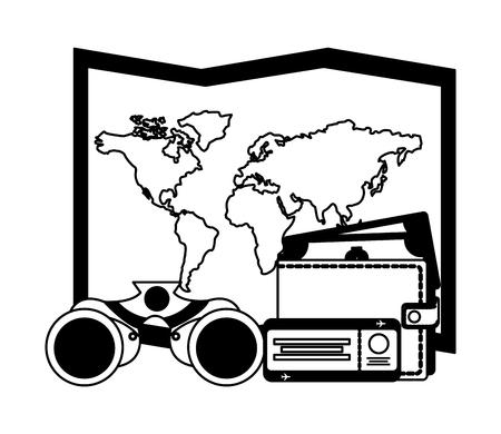 travel map world wallet binoculars and ticket vector illustration