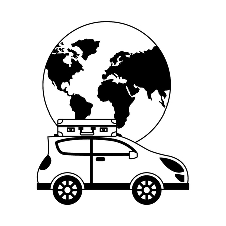 automobile with suitcase in roof travel around world vector illustration Ilustracja