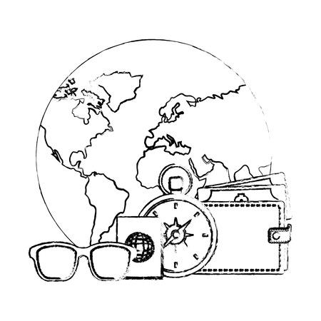 world planet earth with set tourism icons vector illustration design Illustration