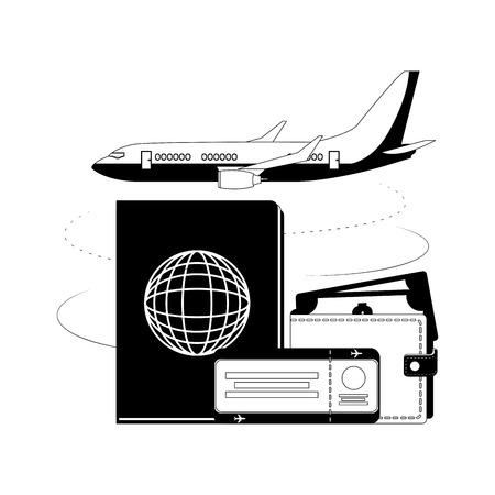 travel airplane passport ticket and wallet money vector illustration