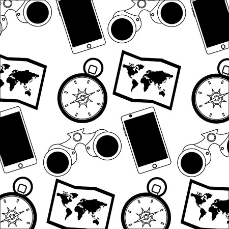 travel map compass binoculars phone background vector illustration Stockfoto - 103047029