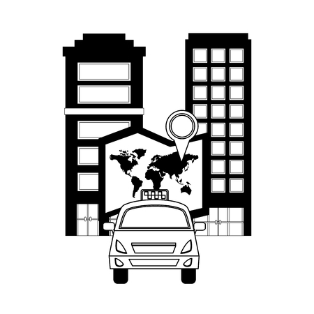taxi transport map location city vector illustration Ilustração