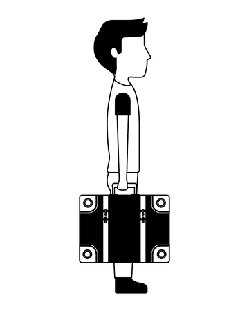 side view man holding travel suitcase vector illustration