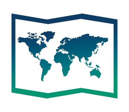 Mapa del mundo del papel del icono ilustración vectorial de diseño Foto de archivo - 103047582