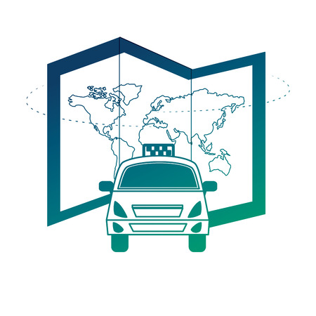 world paper map with taxi vector illustration design