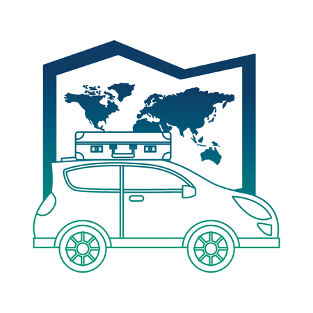 world paper map with car vector illustration design