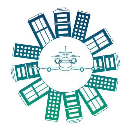 world planet earth with buildings and airplane vector illustration design