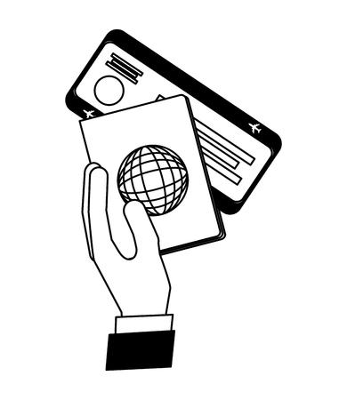 hand holding passport air ticket travel vector illustration