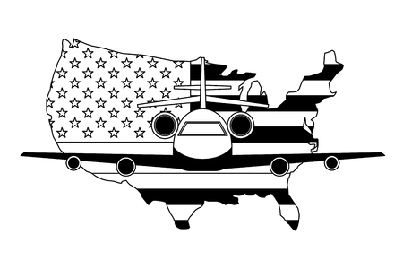 travel airplane and american flag tourism vector illustration  イラスト・ベクター素材